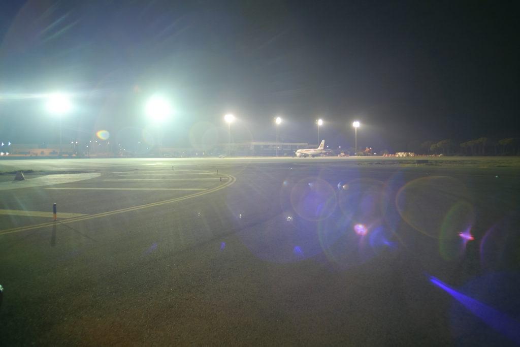 Vista de la pista durante la I Carrera Nocturna Aeropuerto Jerez