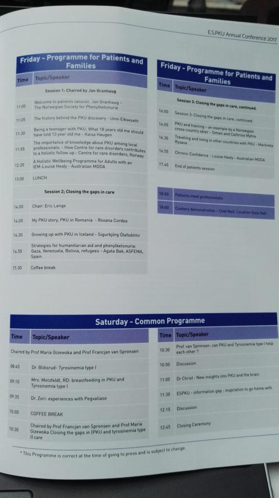 programa 31 conferencia de ESPKU en Hell, Noruega