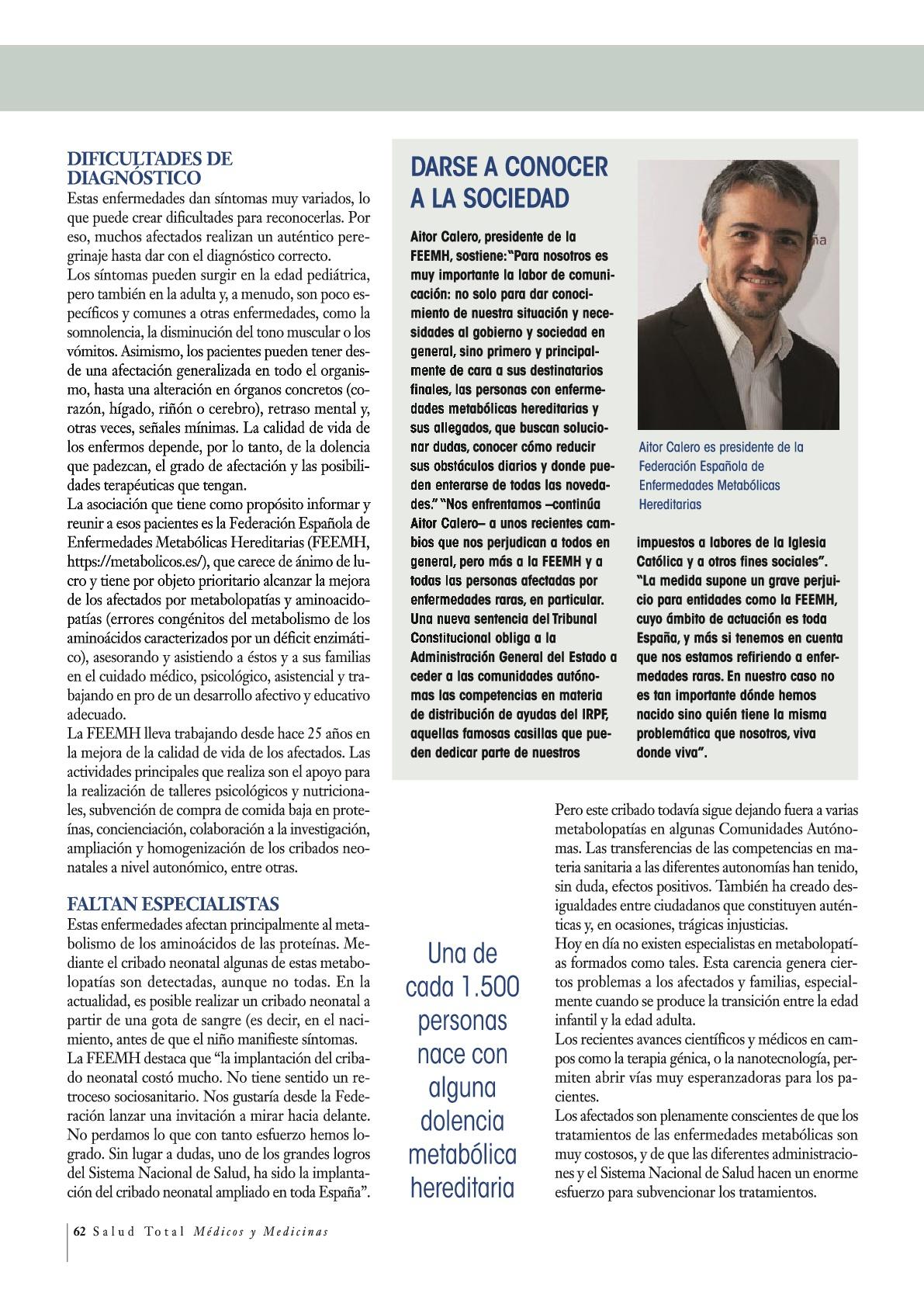 Reportaje sobre enfermedades metabólicas Hereditarias en Salud Total 2